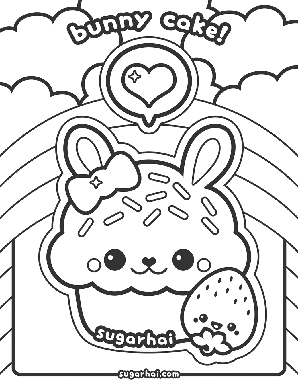 Cute Bunny Cupcake Coloring Page