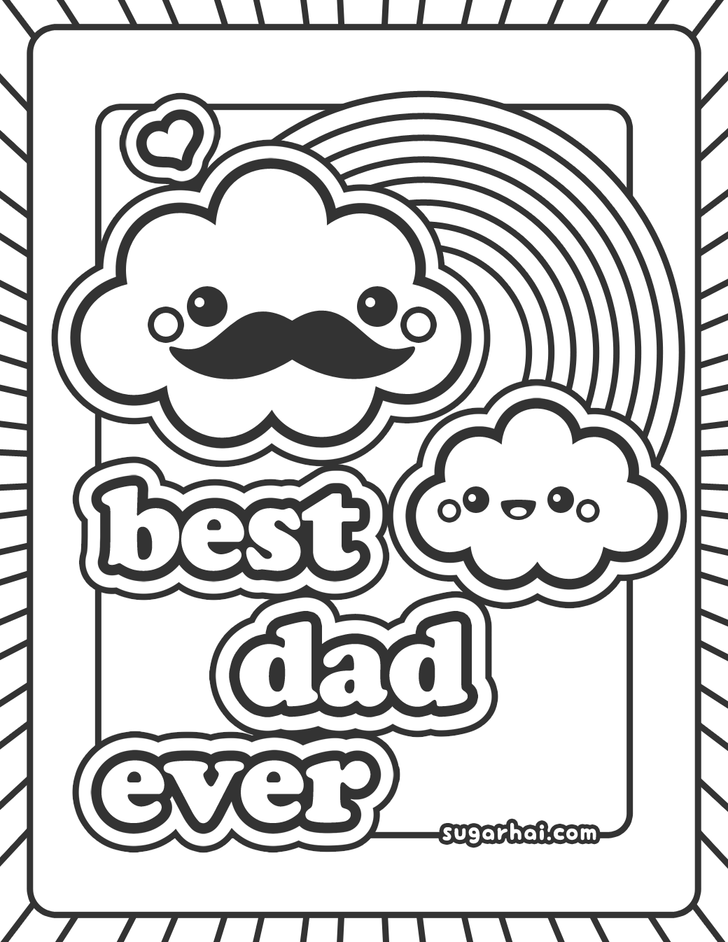 cute best dad ever coloring page