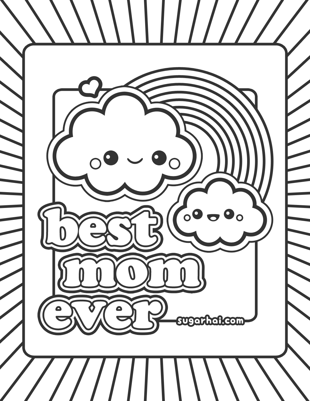 Cute Best Mom Ever Coloring Page